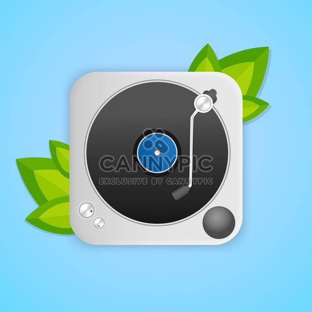 Turntable with green leaves on blue background - Free vector #127236