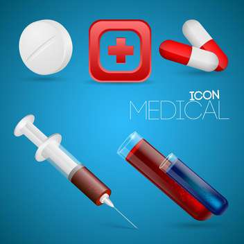 Vector set of medical icons on blue background - vector gratuit #127246