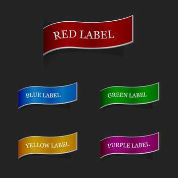 Vector set of colorful ribbon labels on black background - vector gratuit(e) #127326