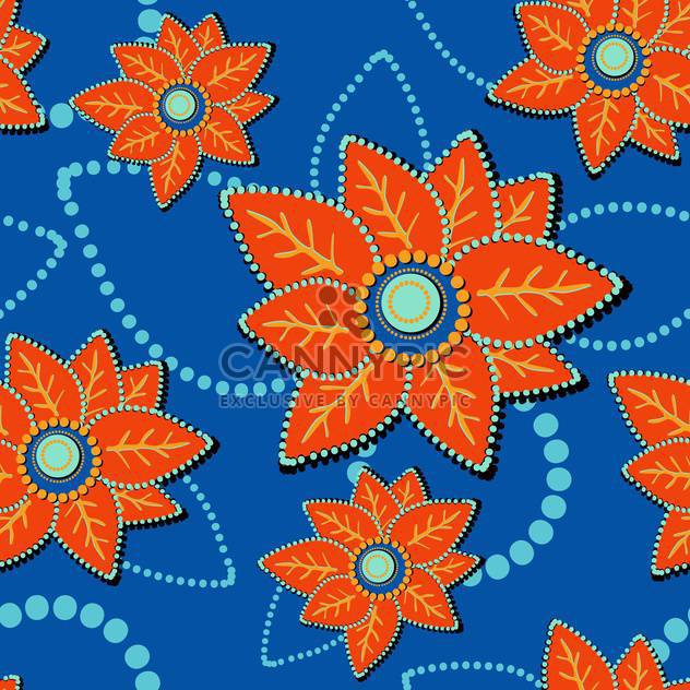 Vector floral blue background with orange flowers - Free vector #127356