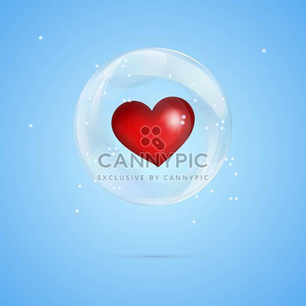 Vector illustration of red heart in bubble on blue background - Free vector #127376