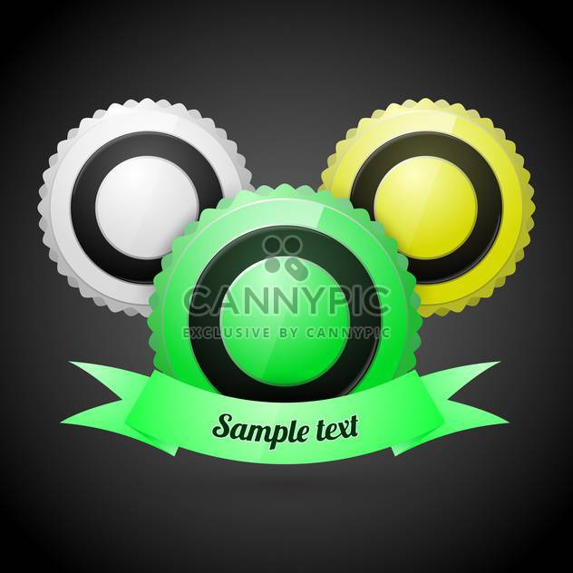 Three vector round labels on black background - Free vector #127386