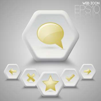 Vector set of hexagon icons on grey background - Free vector #127466