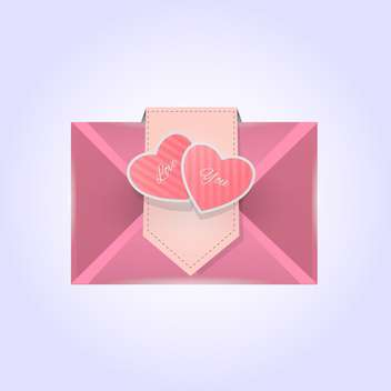 Valentine's day greeting pink color letter with hearts - vector gratuit(e) #127496