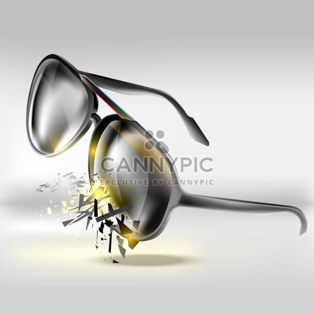 Vector illustration of broken glasses on grey background - Free vector #127606