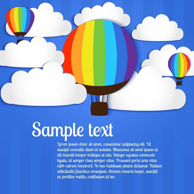 Vector illustration of hot air balloons in sky - Free vector #127686