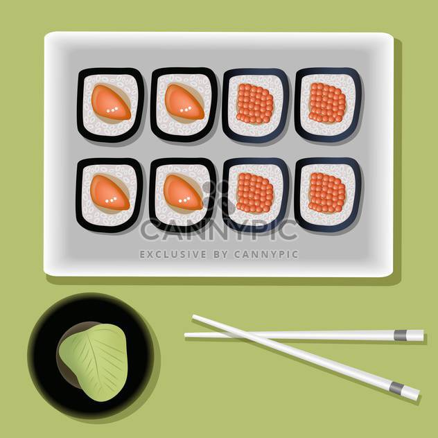 vector sushi on plate and chopsticks - Free vector #127726
