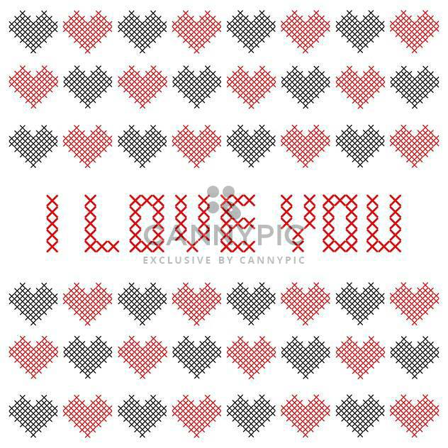 Bestickte Valentinstags-Karte mit Herzen - Free vector #127736
