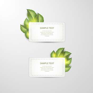 vector stickers with green leafs on white background - бесплатный vector #127756