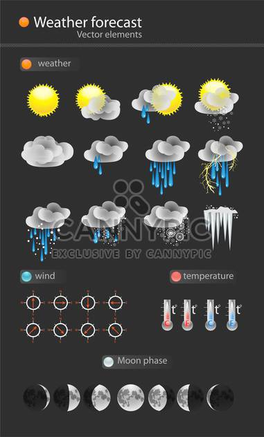 Weather icon set on black background - Free vector #127796