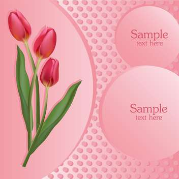 Bunch of pink tulips with text place - vector gratuit #127866