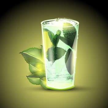 mojito cocktail or drink with limes and mint on green background - vector gratuit(e) #127876