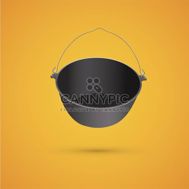 vector illustration of black kettle for campfire on yellow background - Free vector #127996