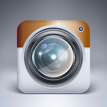 Vector camera application icon on grey background - vector gratuit #128076