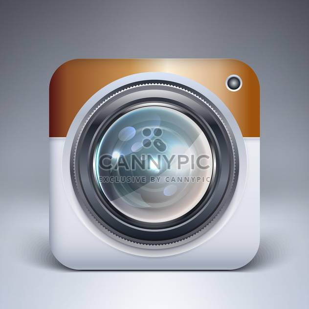 Vector camera application icon on grey background - Free vector #128076