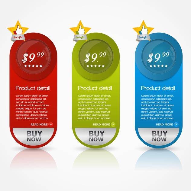 vector illustration of colorful shopping buttons on white background - vector #128106 gratis
