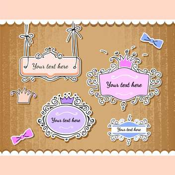 Vector set of cute vintage frames with text place - vector gratuit #128116