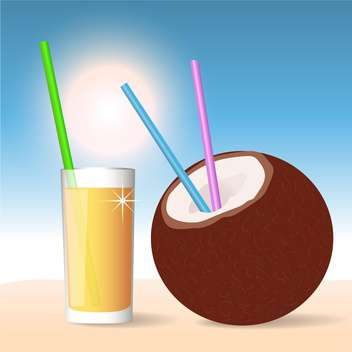 Coconut cocktail, vector Illustration on summer background - vector gratuit(e) #128206