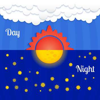 Set with sun and moon, day and night - Free vector #128216