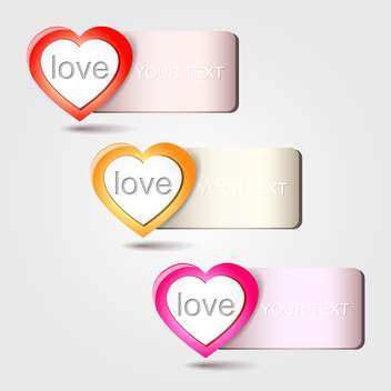 Vector heart love banners, on white background - vector gratuit #128236