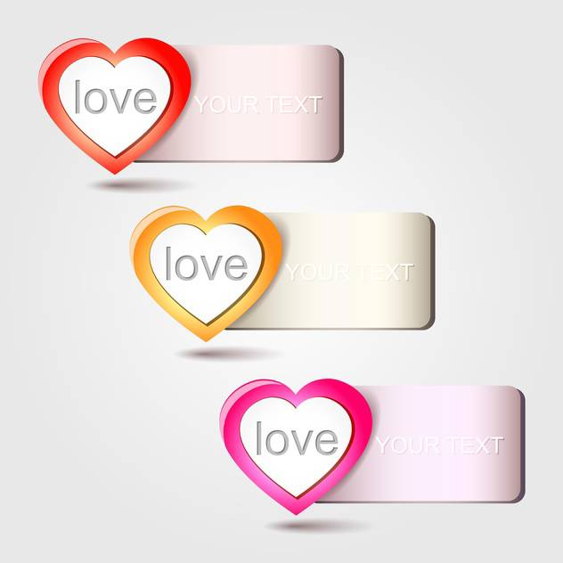 Vector heart love banners, on white background - бесплатный vector #128236