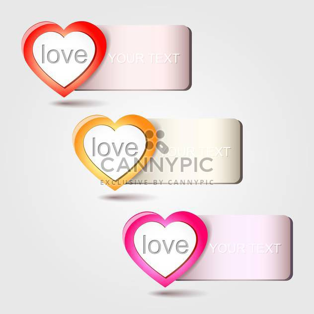 Vector heart love banners, on white background - Free vector #128236