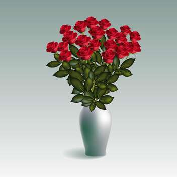 Red roses in vase isolated on white background - vector gratuit #128316