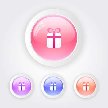 Set of vector color keyboard buttons with gift box sign - Free vector #128416