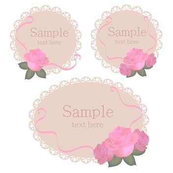 Vector floral lace frames with pink roses - vector gratuit #128456