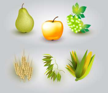 Vector illustration of group of fruits and some ears of wheat. - Free vector #128496