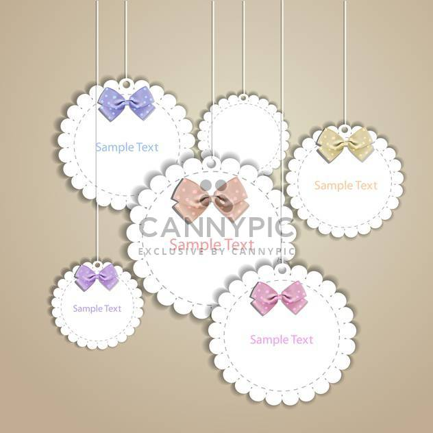 Set of vintage vector frames with lace and bow - Free vector #128536