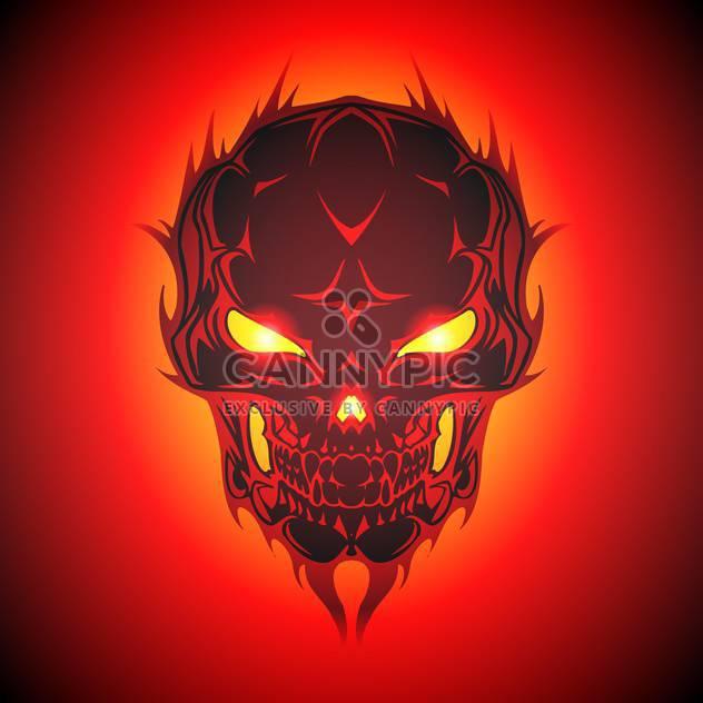 Vector illustration of burning skull - Free vector #128566
