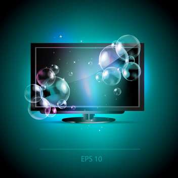 Vector illustration of LCD Tv monitor with bubbles - vector gratuit #128606