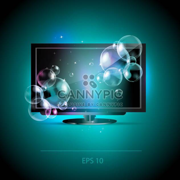 Vector illustration of Lcd Tv monitor with bubbles - Free vector #128606