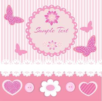 Vector pink frame with lace and butterflies - vector gratuit #128626