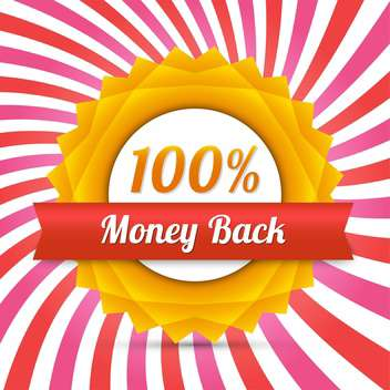Vector yellow money back label with red ribbon - vector gratuit #128646