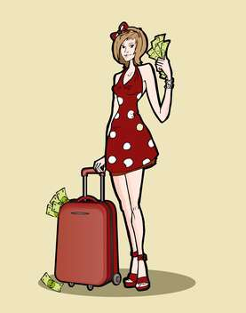 Vector illustration of woman with a luggage bag full of money. - vector gratuit #128666