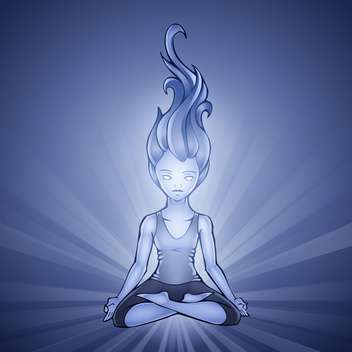 Vector illustration of Yoga Girl on blue background - бесплатный vector #128706