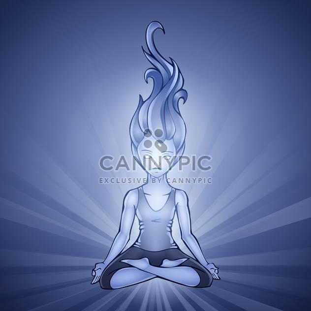 Vektor-Illustration von Yoga Girl auf blauem Hintergrund - Kostenloses vector #128706