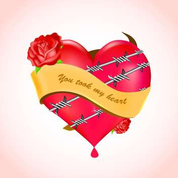 Vector illustration of bleeding heart with barbed wire and red roses. - Free vector #128756