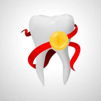 Vector Illustration of tooth with red ribbon Isolated on white background - бесплатный vector #128906