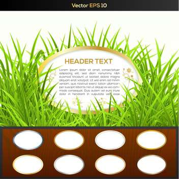 Wooden buttons set with green grass and copy space in round frame - Free vector #128916