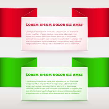 Vector set of red and green banners - vector gratuit #129296
