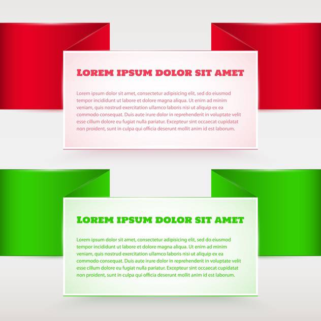 Vector set of red and green banners - бесплатный vector #129296