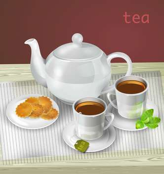 Vector illustration of teapot, cups and cookies on table - Free vector #129336