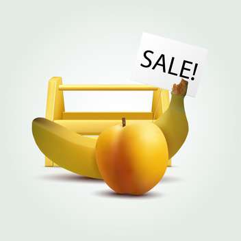 Vector illustration of banana and peach for sale - Free vector #129346