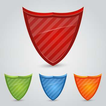 Vector set of colorful shields on gray background - vector #129356 gratis