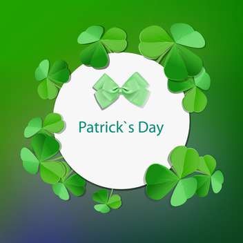 Vector green St Patricks day greeting card with frame and clover leaves - Free vector #129386