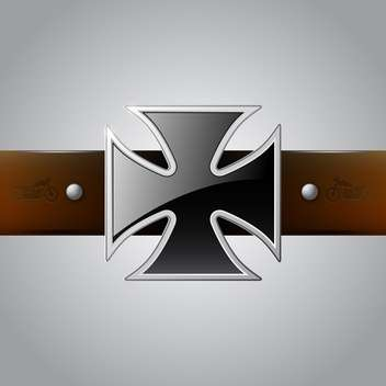 Vector black German Cross belt buckle on gray background - Free vector #129406