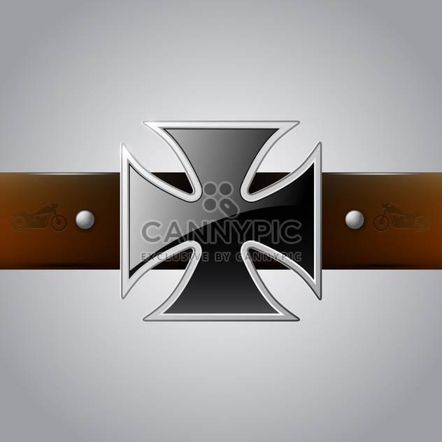 Vector black German Cross belt buckle on gray background - Free vector #129406